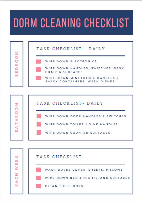 Dorm Cleaning Checklist